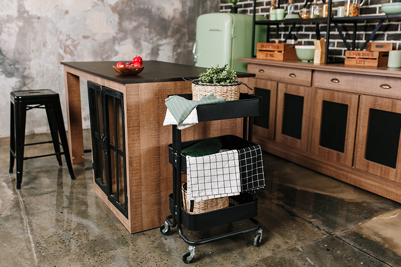 Modular kitchen trolley which has three baskets where you can neatly stack your kitchen towels and check out these kitchen trolley images