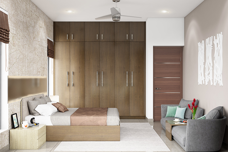 modern bedroom cupboard design where fine finishes and earthy coloured doors go well with the decor for bedroom cupboard design images