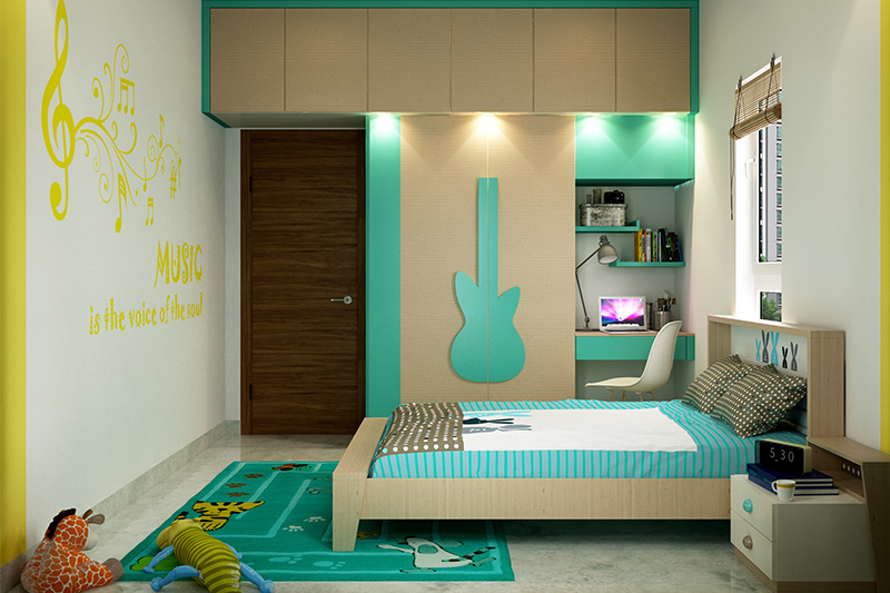 modern bedroom cupboard design with an attached study table for bedroom