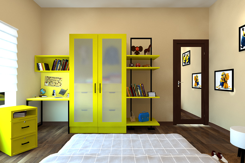 Laminate design for wardrobe in india with semi-transparent fiberglass front doors and attached side shelves for wardrobe laminate designs