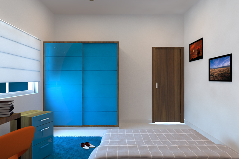 Wardrobe design laminate which blends well with the neutral tones of the room