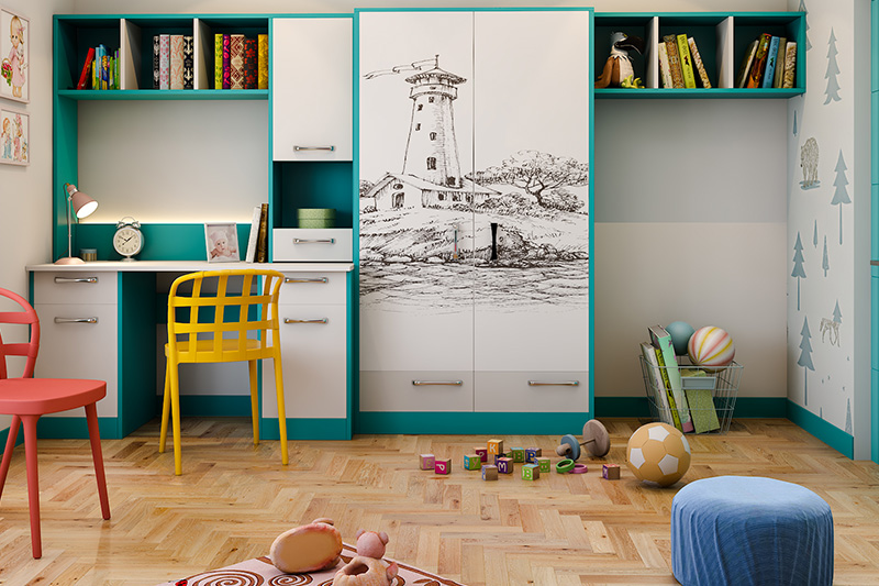 Wardrobe laminates design where you can definitely try out this landscape-inspired digital laminate design on wardrobe