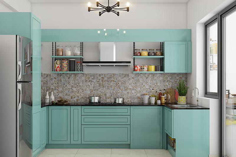 Indian modern kitchen with fun hanging shelves