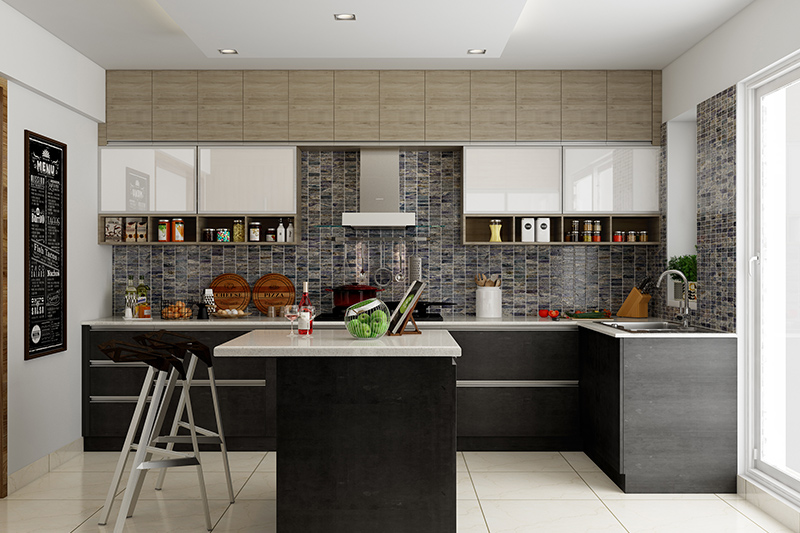 Modern kitchen design indian where white cabinets and marble countertops bring light into the modern kitchen room