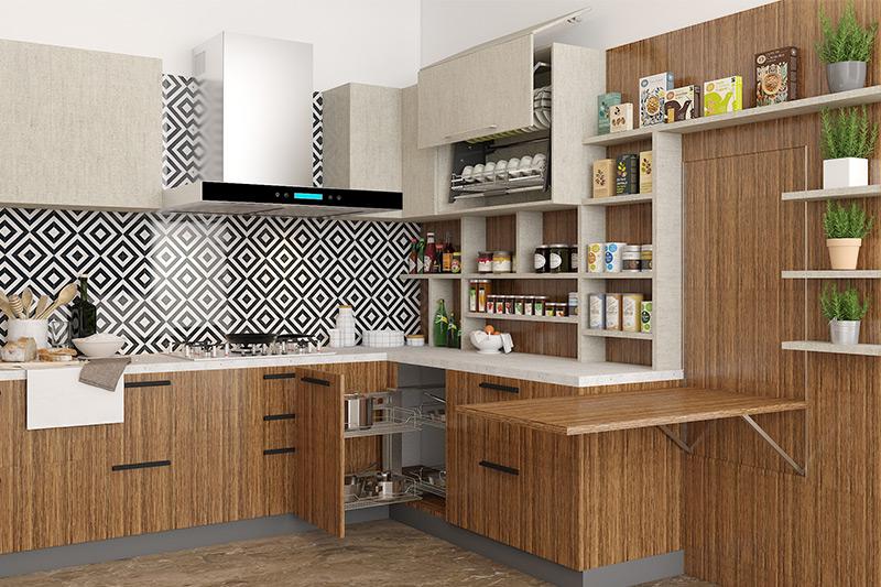 Modern kitchen ideas with bold backsplash, grainy wood-look laminate cabinets for new modern kitchen