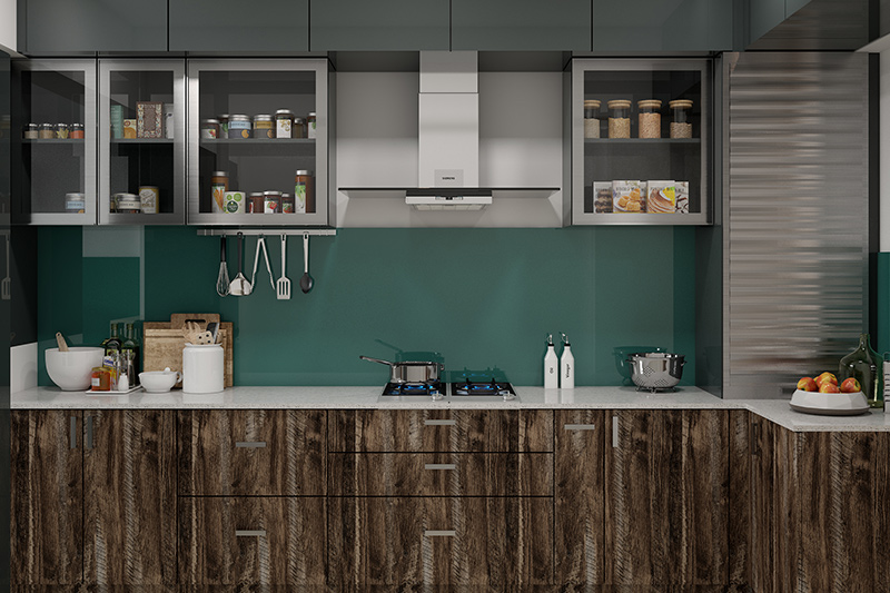 Modern kitchen images that maximises storage space with ceiling high loft cabinets