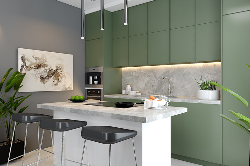 Modern kitchen interior design with sleek lines and ceiling high storage for this modern island kitchen