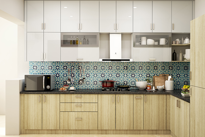 Modern kitchen interior with storage space from ceiling to floor