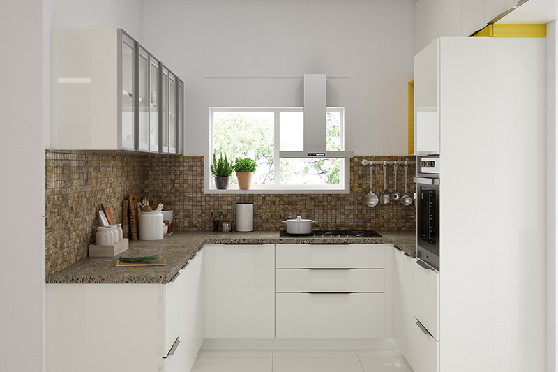 Small modern kitchen design where white concept keeps the lines clean and sleek to the modern kitchen models