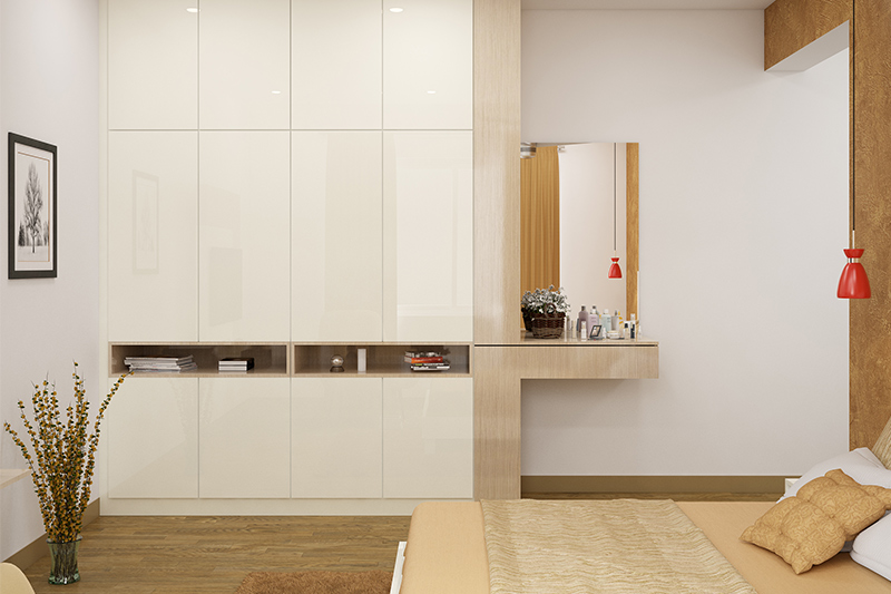 Wardrobe design with dressing table and mirror for your home