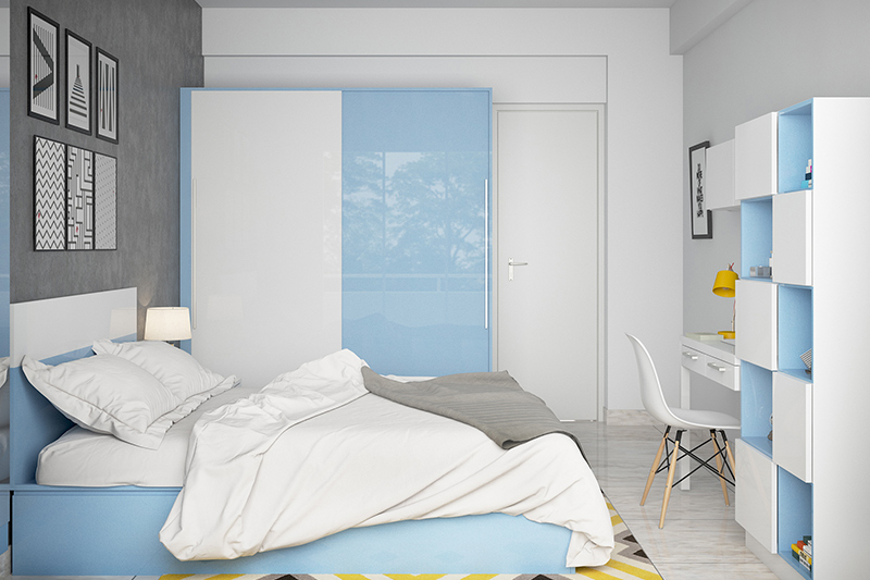 modern bedroom interior where colour blocking with a pastel hue is refreshing for your modern bedroom