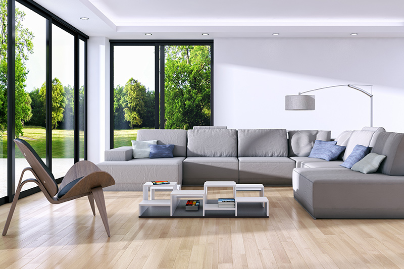 Wood tile adds a smart and stylish aesthetic to the living room