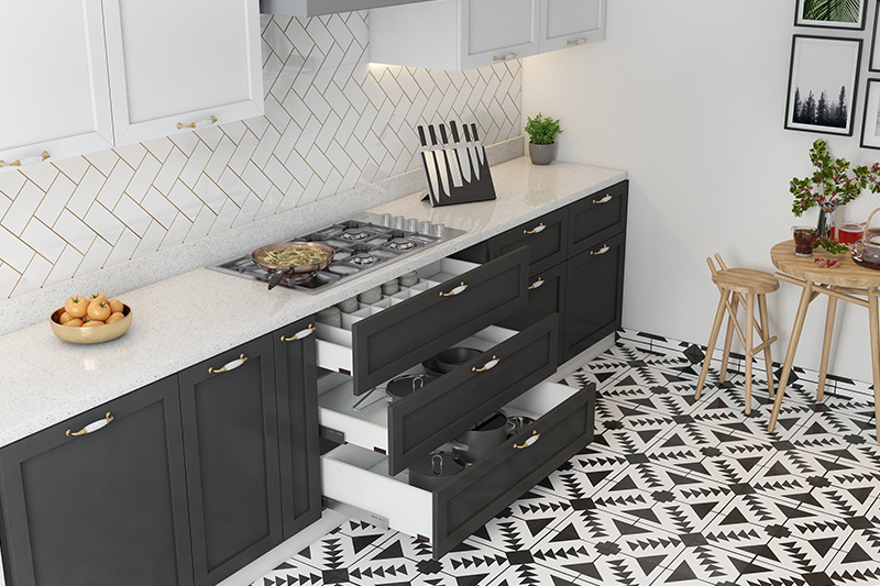 Interior design on a budget for your kitchen with elements like kitchen cabinets and knob uplifts