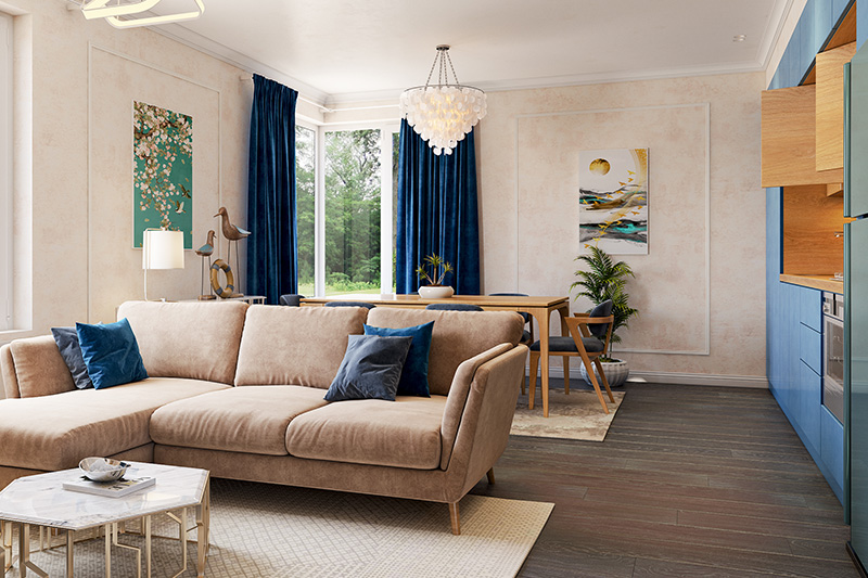 Living room ideas on a budget with a beautiful and comfortable couch an d an elegant dining table for budget home design