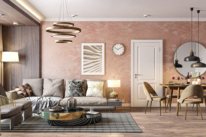 Low budget interior design where home decor will be based on the colour palette