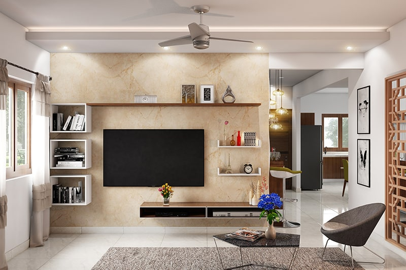 LCD showcase design in hall to make a sleek and neat tv area in your showcase design in hall