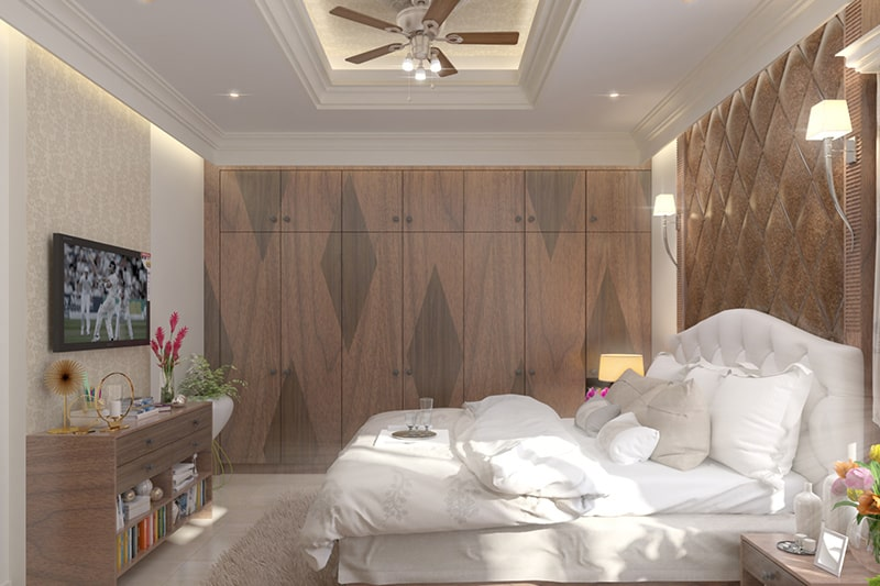 Wooden designer wardrobe build by laminate or solid wood materials for every type of bedroom interior design