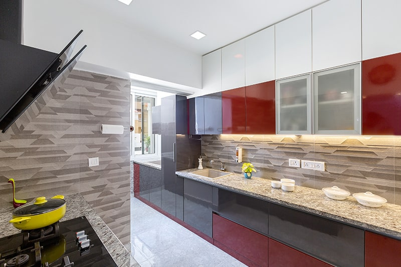 Small kitchen false ceiling design work best with wood or fibre for the material's lightness