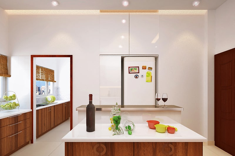 Modern kitchen ceiling design by metal panels are more modern and minimal for kitchen fall ceiling design