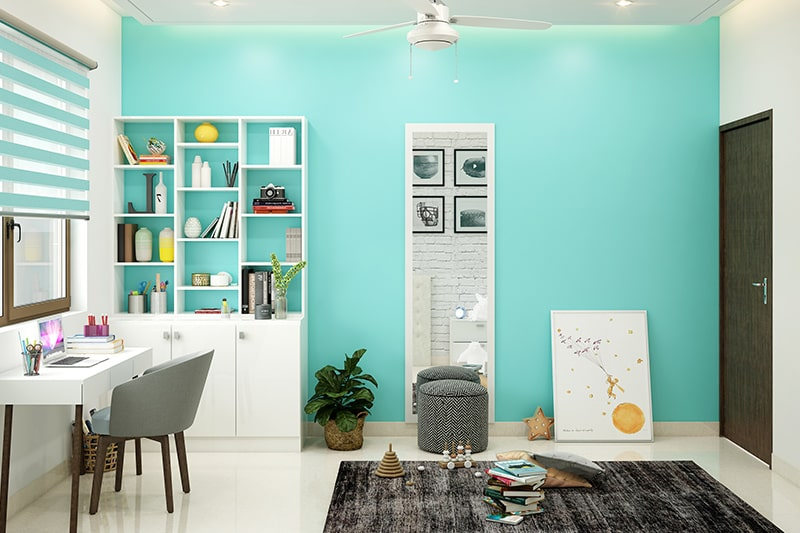 Cyan blue paint colors for kids room gives calming and symbolises relaxation for your childrens