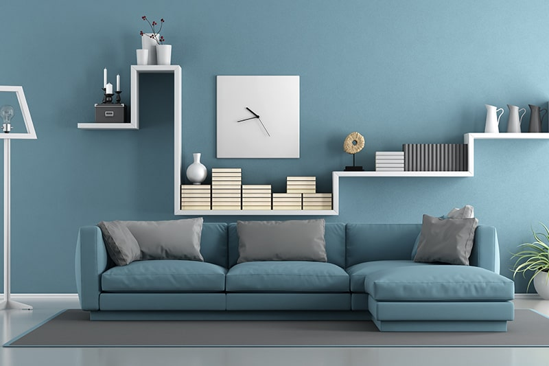 Sky blue wall paint colors with a sense of expansiveness, openness and tranquility into your living room