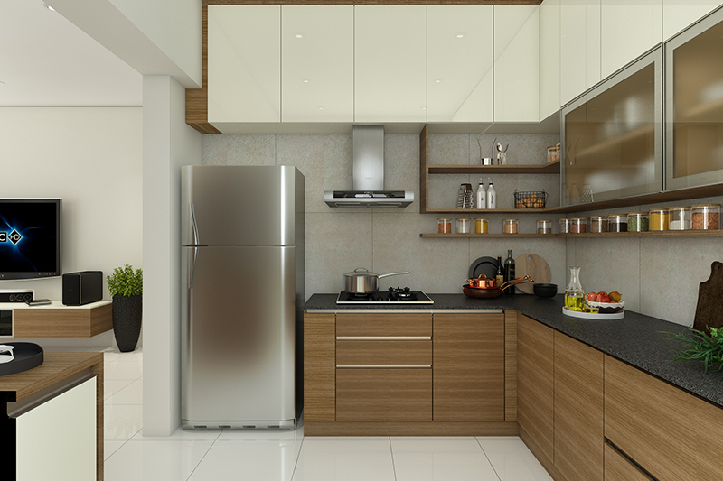 Black quartz countertops which are sleek and provides a beautiful contrast to the wood laminate cabinet