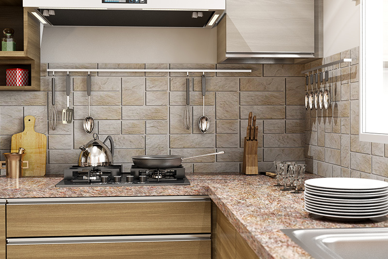 Quartz countertops that look like marble with artistically textured backsplash tiles