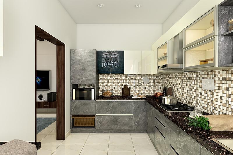 Quartz stone countertop where various shades of black, brown and white give the quartz countertop an organic depth