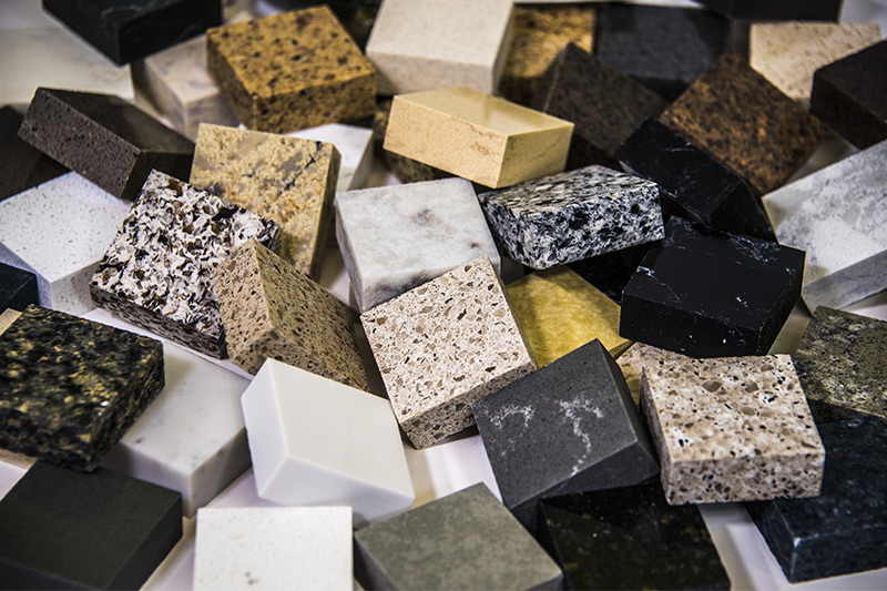 Quartz kitchen countertops with granite and other natural minerals