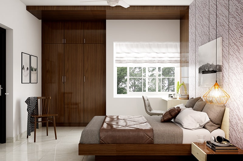 Fitted door wardrobe design looks natural and well-blended into the bedroom interiors