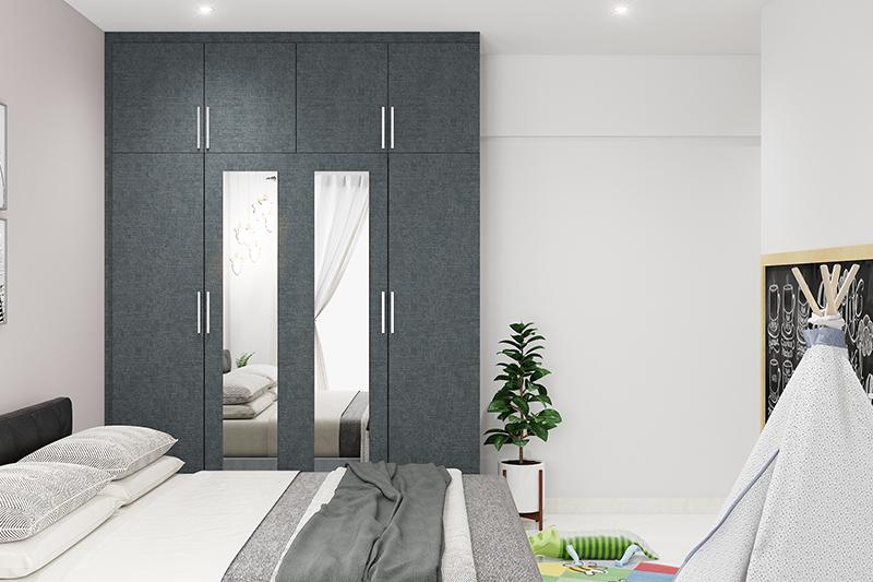 Wardrobe door design with two mirror panels speaks of elegance and class look in your bedroom wardrobe door designs