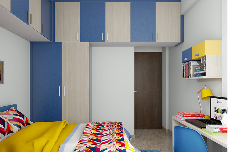 Hinge door wardrobe design with ample loft cabinets to store your seasonal clothes