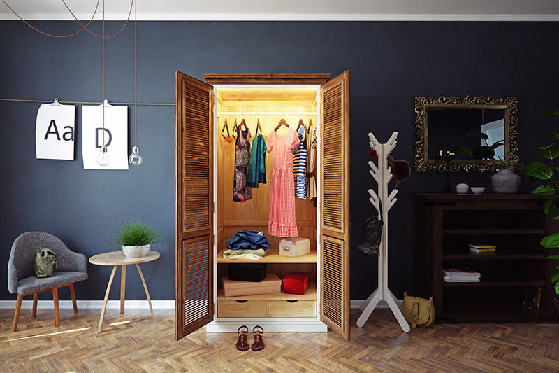 Shutter door wardrobe design gives you customised storage options to your wardrobe designs