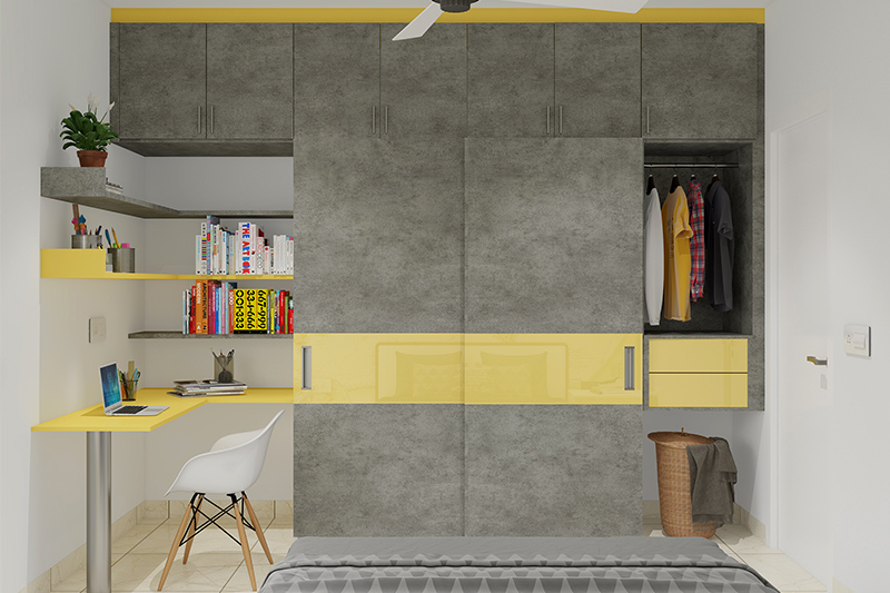 Wardrobe door design with attached study table suitable to your kid's bedroom with space-saving storage ideas