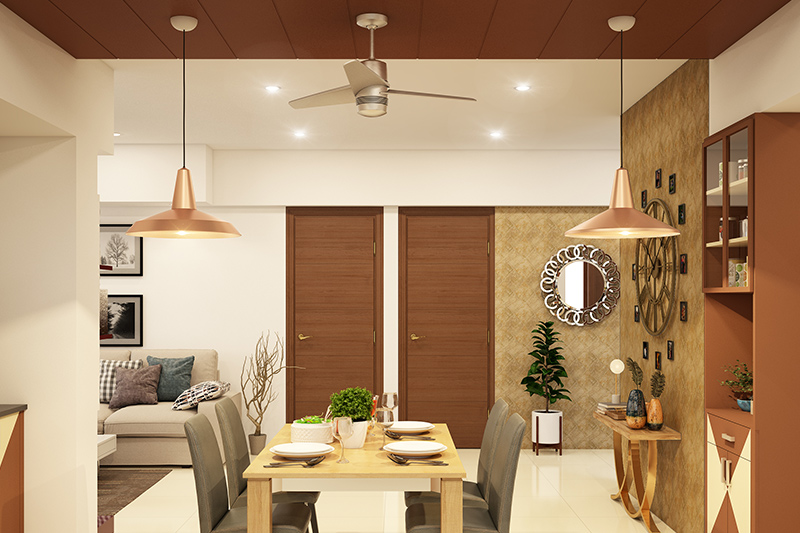 Ceiling colour ideas with dark chocolate brown contrasted with white colour