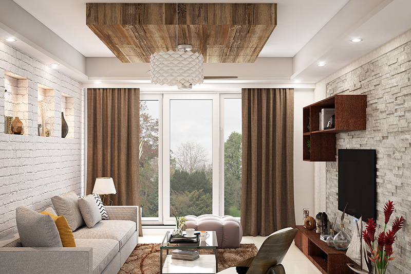 Ceiling colours for hall where false ceiling which combines a wooden panel with white colour for your home