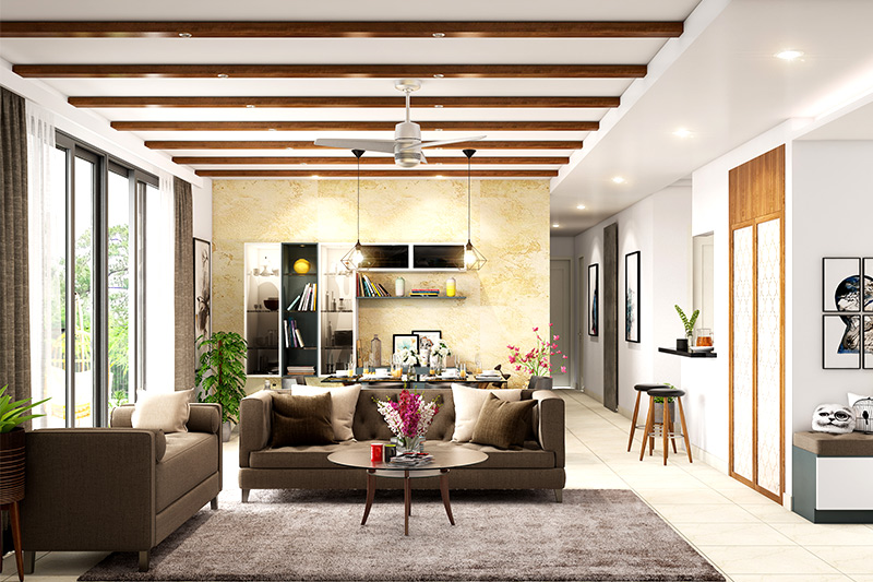 Ceiling colours for living room where white gives a stately look with the wooden beams in the ceiling design