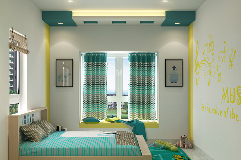Ceiling paint colour for your home with sea green and white colour for a vibrant kids room
