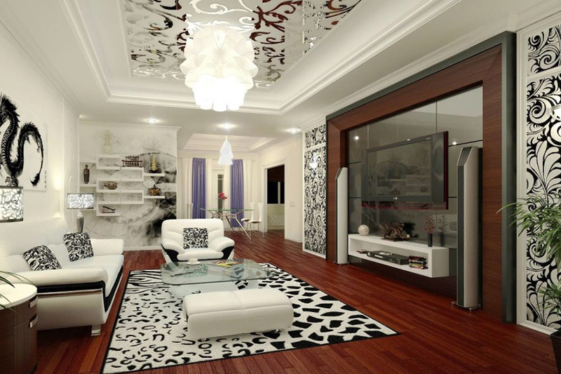 False ceiling colour designs living room with a luxurious and grandiose effect