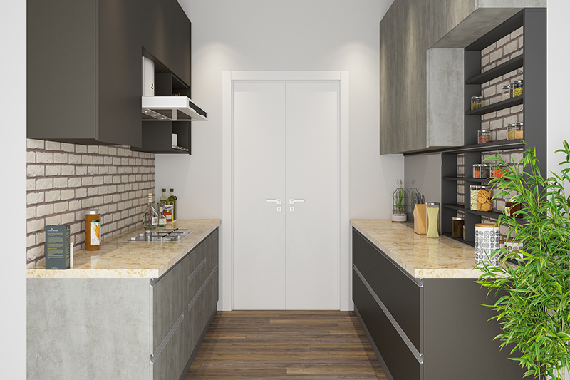 Let us tell you how to design a parallel kitchen where light flows steadily through a door