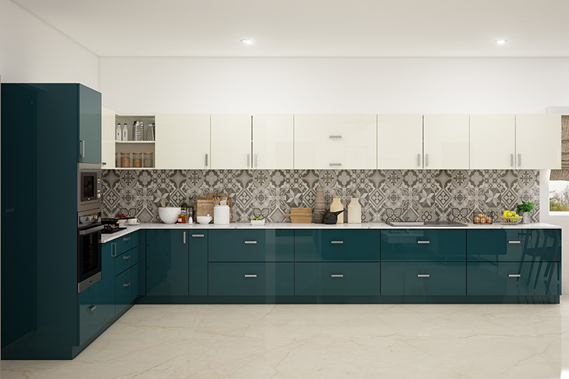 Let us tell you how to design a straight modular kitchen with all your all your kitchen accessories and appliances
