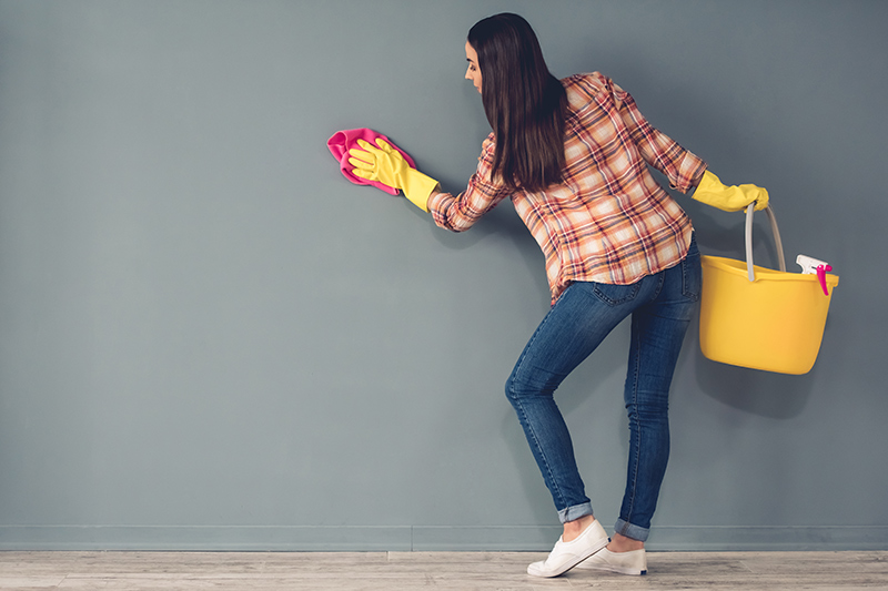 House painting tips start with cleaning the walls first, so the paint adheres to the walls better.