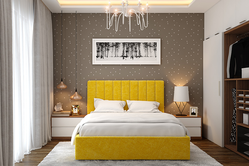 Polka dots are easy wall painting techniques to create a bold or sober feature wall