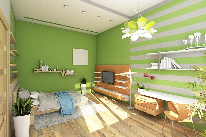 Verdant shade green paint colors for bedrooms, it gives a refreshing look and feel to your bedroom