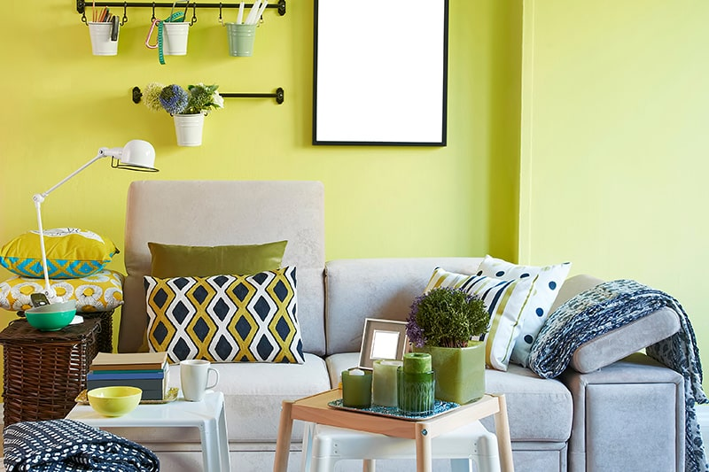 Luscious lime shade green colour room with mix a lot of green and a bit of yellow