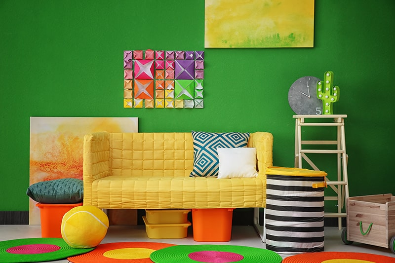 Fluorescent shade green paint colors for living room