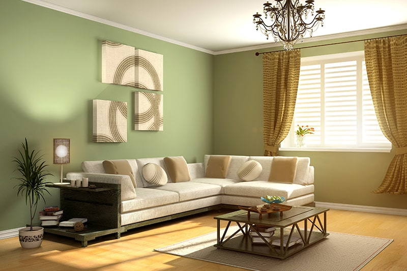 Warm wild shade for a green living room gives a warm as well as welcoming