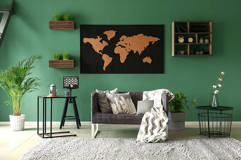 Dark green paint colors for living room to makes for a royal living room