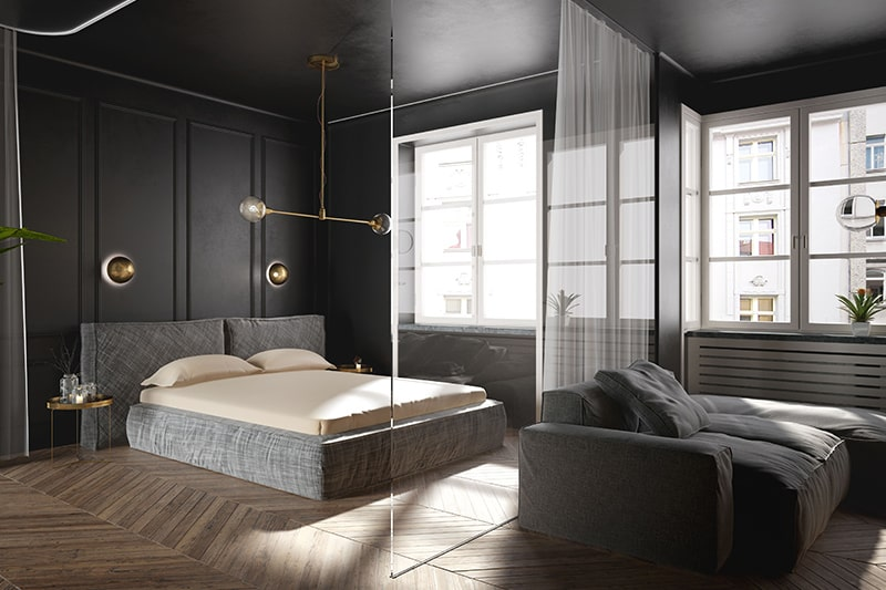 Black bedroom design with glass, wood and fiber panels