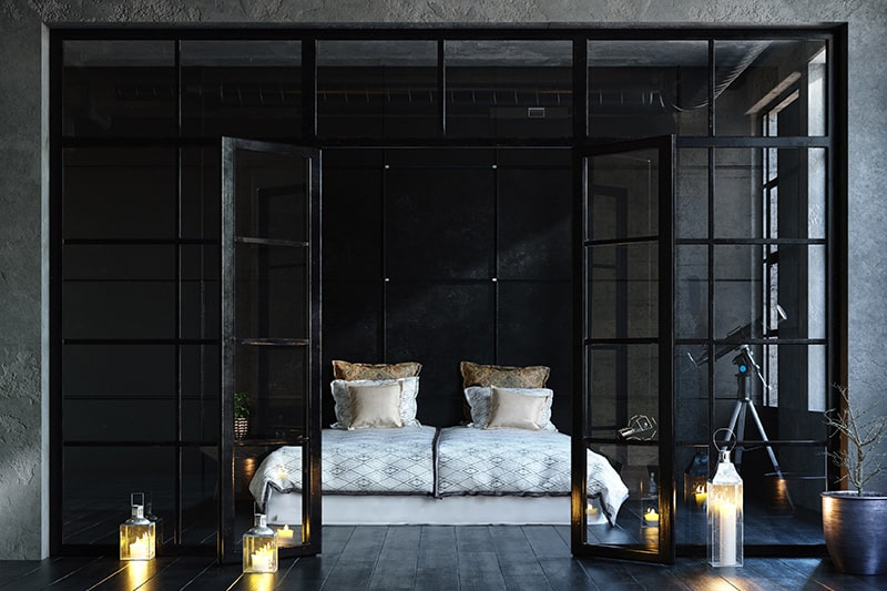Plush black bedroom design with gold and black are stunning complementary shades
